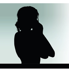 Woman silhouette with hand gesture hands on the vector