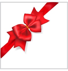 Red bow with diagonally ribbon vector