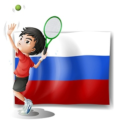 A boy playing tennis in front of the russian vector