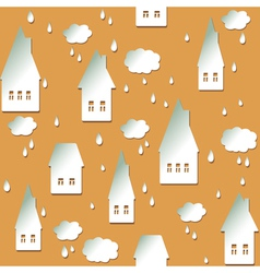 Seamless background with houses clouds and drops vector