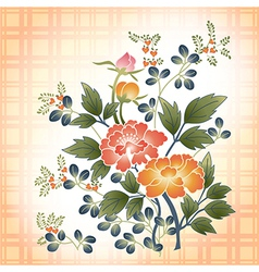 Embroidered japanese style floral bouquet on plaid vector