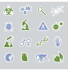Biology stickers set eps10 vector