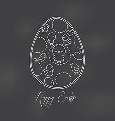 Easter egg painted by hand drawing with chalk on a vector
