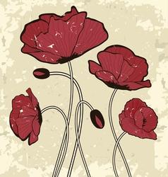 Retro style poppy flowers vector