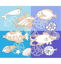 Background with fishes and cockleshell vector