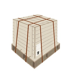 A shipping box with steel strapping on pallet vector