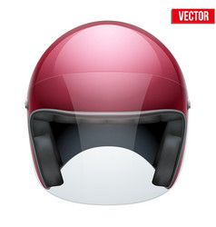 Red motorbike classic helmet with clear glass vector