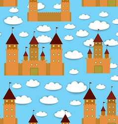 Seamless pattern castle fairytale landscape blue vector