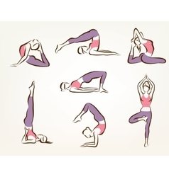 Set of yoga and pilates poses  stylized symbols vector