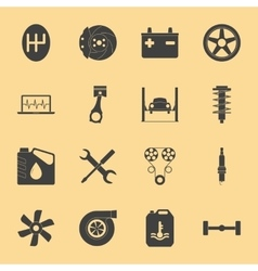 Car service silhouette icons set vector