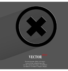 Cancel flat modern web button with long shadow and vector