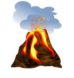 Volcano erupting vector