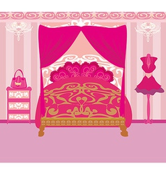 Elegant pink bedroom vector