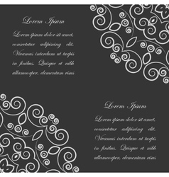 Black background with white ornate pattern vector