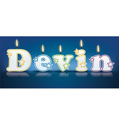Devin written with burning candles vector