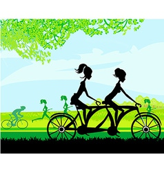 Girls riding tandem bicycle vector