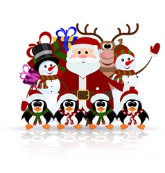 Santa claus penguins reindeer and snowman vector