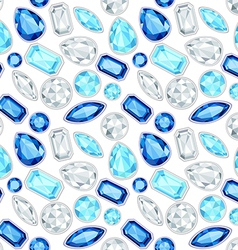 Blue sapphire and diamonds saturated color seamles vector