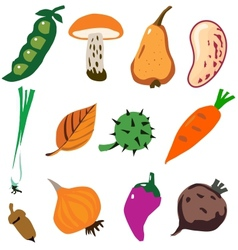 Vegetables doodle cartoon set vector