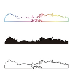 Sydney skyline linear style with rainbow vector