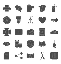 Photo equipment end editing silhouettes icons set vector