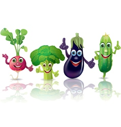 Funny vegetables radishes broccoli eggplant vector