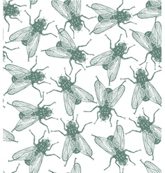 Seamless flies pattern in engraved style vector