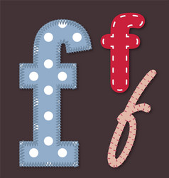 Set of stitched font - letter f vector