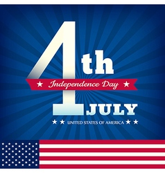 4th of july independence day with american flag vector