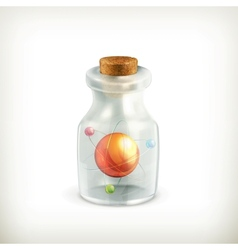 Atom in a bottle icon vector
