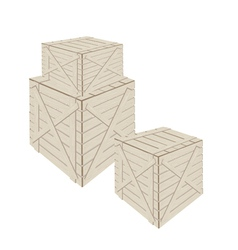 A stack of wooden cargo boxs on white background vector