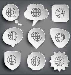 Globe and phone and gears and magnifying glass vector