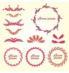 Set flower ornament design elements vector
