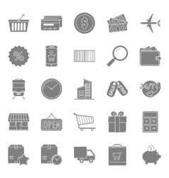 Sales and shopping silhouettes icons set vector