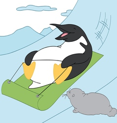 Penguin sledding vector