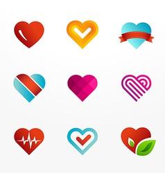Heart symbol logo icon set vector