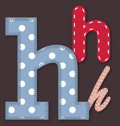 Set of stitched font - letter h vector