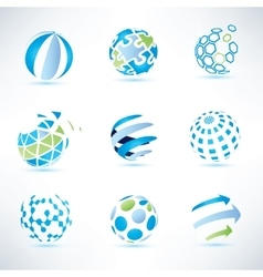 Abstract globe symbol setcommunication and vector