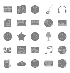 Music and audio silhouettes icons set vector