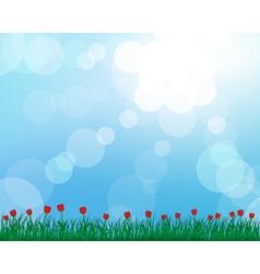Tulip grass meadow background vector