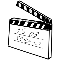 Clapperboard on white background vector