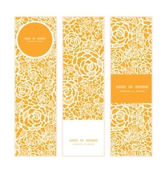 Golden lace roses vertical banners set pattern vector