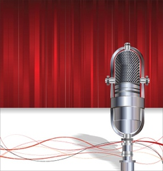 Retro microphone on red background vector