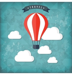Flat air balloon web icon travel vintage vector