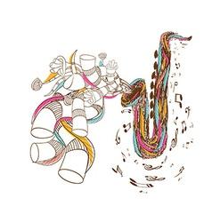 Jazz saxophone doodle art vector