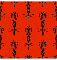 Pattern with bold flowers in african style vector