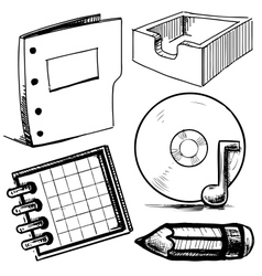 Office objects collection vector