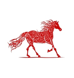 Red horse with floral ornament for your design vector