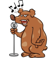 Singing bear cartoon vector