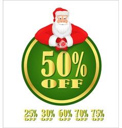 Santa claus green discount label vector